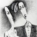 Czapki z głów ,rysunek tuszem, 34x46cm